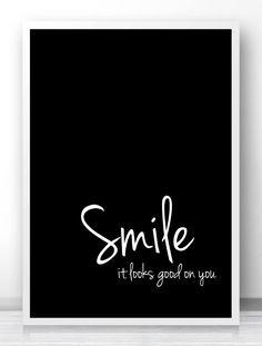 "Digital Download Art Motivational Print ""Smile"" Typography Poster Inspirational…"