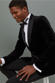 Black Outfit Men, Black Men, Tuxedo Jacket, Suit Jacket, Prom Suits For Men, Black Lace Bodysuit, Groom Style, Black Suits, Men Looks