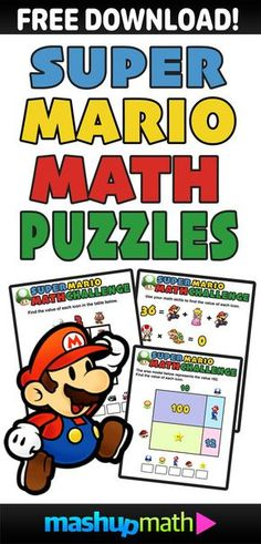 Are you looking to share some fun, free, and printable Super Mario math puzzles and challenges worksheets with your kids in 3rd grade, 4th grade, 5th grade, 6th grade, 7th grade, or 8th grade?