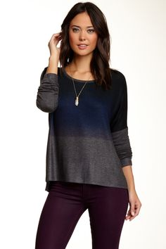 Crew Neck Hi-Lo Dolman Sweater by Go Couture on @HauteLook