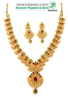 Totaram Jewelers: Buy 22 karat Gold jewelry & Diamond jewellery from India: Uncut Diamond Necklace Sets