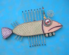 Twisted Trout II , Original Found Object Wall Sculpture, Wood Carving, Wall Decor, Animal Sculpture, by Fig Jam Studio
