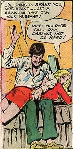 A panel from a vintage spanking comic book in which a husband puts his wife in her place; over his knee for a spanking Pop Art Vintage, Vintage Comic Books, Vintage Comics, Retro Art, Vintage Cards, Spanking Art, Western Comics, Comic Panels, Funny Comics