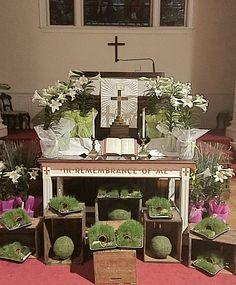 Easter Altar using Children's Resurrection Garden