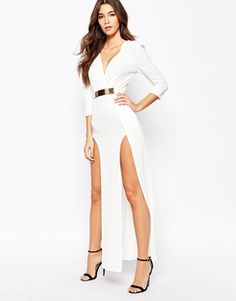 NaaNaa Plunge Neck Belted Maxi Dress