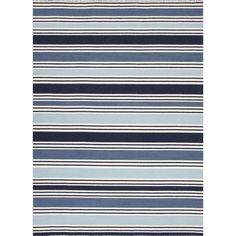 8' x 10' Navy Blue Baby Blue and White Salada Flat-Weave Striped Wool Area Throw Rug 31524674 | ChristmasCentral