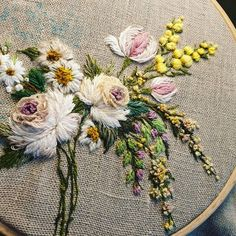 Image may contain: flower Ribbon Embroidery Tutorial, Hand Embroidery Videos, Hand Embroidery Flowers, Embroidered Roses, Flower Embroidery Designs, Silk Ribbon Embroidery, Crewel Embroidery, Hand Embroidery Patterns, Embroidery Techniques
