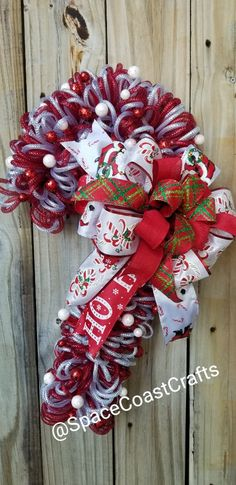 Christmas Candy Cane Deco Mesh Loop Front Door Wreath Merry Christmas Xmas Seasonal Holiday Peppermint DIY Porch Decor by Space Coast Crafts Diy Fall Wreath, Christmas Wreaths To Make, Christmas Candy, Holiday Wreaths, Christmas Crafts, Christmas Decorations, Merry Christmas, Winter Wreaths, Spring Wreaths