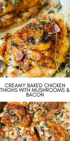 Creamy baked chicken thighs with mushrooms & bacon. An easy weeknight dinner packed full of flavour the whole family will love! another tasty low carb and keto approved recipe! #easyrecipes #dinner #chickenrecipes #food #cooking #chicken #easy #recipes Easy Chicken Recipes, Easy Recipes, Easy Weeknight Dinners, Easy Meals, Chicken Thighs Mushrooms, Baked Chicken, Salmon Burgers, Bacon, Stuffed Mushrooms