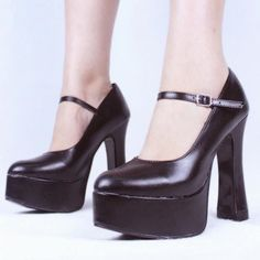 Womens Mary Janes Platform High Block Heels Black Ankle Strap Buckle Pumps Shoes