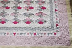 Quilting in the border — Stitched in Color Quilt Block Patterns, Pattern Blocks, Quilt Blocks, Longarm Quilting, Free Motion Quilting, Irish Chain Quilt, Butterfly Quilt, Quilting Designs, Quilt Design