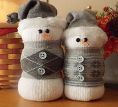 Sock Snowman Gray Snowflakes and Argyle. $15.00, via Etsy.