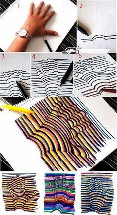Hand in 3D tekenen: welke lijnen verander je? Waarom? Hoe zorg je voor een 3D effect?