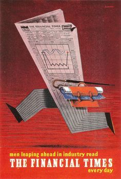 The familiar pink paper of the Financial Times seen here, in a 1955 poster by Abram Games, racing ahead! Games was one of the best known UK based graphic designers of the period and this poster is only a few years after his 1951 Festival of Britian logo.