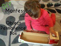 DIY Montessori Inspired Object Permanence Box for baby & infants Montessori Baby, Montessori Trays, Montessori Materials, Montessori Activities, Craft Activities For Kids, Infant Activities, Learning Activities, Object Permanence, Baby First Foods