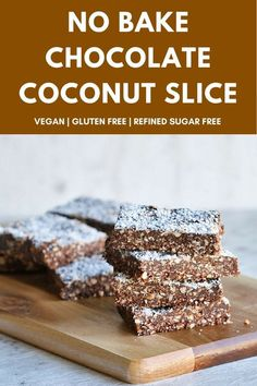 No one will guess this delicious no bake chocolate coconut slice is healthy! Perfect for lunchboxes for little or big kids alike. Or use it as a no fuss way to feed a crowd for afternoon tea. #healthytreats #rawtreats #vegandesserts