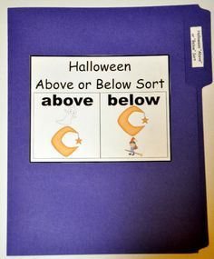 """The Halloween Above or Below Sort File Folder Game is a sorting activity. In this file folder game, students sort cards by position.  This file folder game focuses on the positional concepts of """"above"""" and """"below."""""""