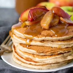 Fluffy Apple Cinnamon Pancakes made with applesauce. Made Used whole wheat flour, water instead of milk, and a little extra applesauce. Breakfast Casserole, Breakfast Recipes, Breakfast Dishes, Breakfast Ideas, Crepes, Applesauce Pancakes, Fluffy Pancakes, Pancake Muffins, Thing 1