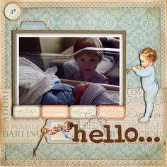 Hello baby scrapbook layout -- papers and title