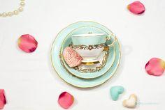 Tuscan Aqua Green & Gold Fine bone china by FlyingSquirrelNest