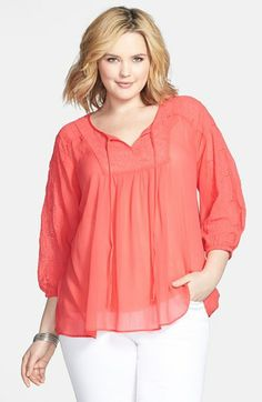 Jessica Simpson 'Symphony' Embroidered Peasant Blouse (Plus Size) available at #Nordstrom