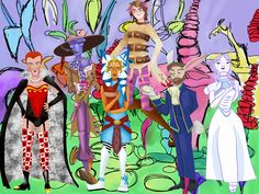 Star Wars Alice In Wonderland with Anakin Skywalker as Cheshire. Palpatine as Queen of Hearts. Cad Bane as Mad Hatter. Ahsoka Tano as Alice. Obi-Wan Kenobi as The White Rabbit. And Padme Amidala as The White Queen. Bane, Obi-Wan, and Padme drawn by @writeroutsider
