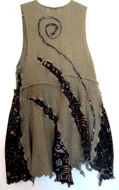 Upcycled Taupe Cotton Sweater Vest fits S M L by monapaints