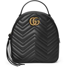 Gucci Gg Marmont Quilted Leather Backpack ($1,790) ❤ liked on Polyvore featuring bags, backpacks, black, pocket bag, rucksack bags, gucci backpack, gucci knapsack and quilted leather backpack