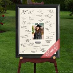 Party Idea for guest book, memory or keepsake idea..  I had Em's friends sign a mat when they came in and then I framed a photo from her party in the frame.