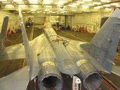 An Indian Navy MiG 29K inside INS Vikramaditya  - http://earth66.com/military/indian-navy-mig-29k-inside-ins-vikramaditya/