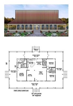 Country House Plan with whole house wrap around porch and a total living area of 1871 sq ft Pole Barn House Plans, Country House Plans, New House Plans, Dream House Plans, Cabin Plans, Small House Plans, House Floor Plans, Country Houses, Dream Houses