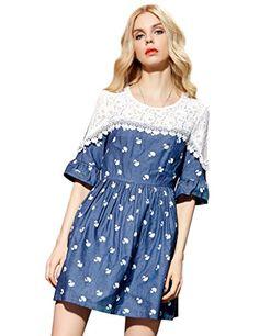 Girls Printed Lace Spliced Jeans Dress Denim Blue