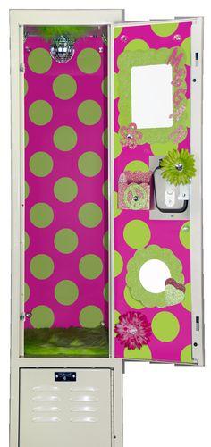 Bright Pink & Lime Green Polka Dot Locker Wallpaper by LuvUrLocker, $22.99