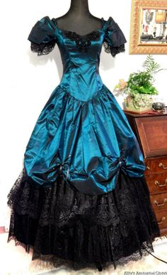 Alfred Angelo Teal Green Dress Victorian Gothic Ball Gown Theater Costume 7/8