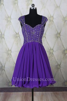 9697e70451 A Line Sweetheart Open Back Short Purple Chiffon Beaded Prom Dress With  Straps