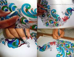 Hello Buddies 🙂 I am back again 🙂 As the title suggests today's post is a tutorial to make your own glass painting. Martial Arts Weapons, Martial Arts Styles, Glass Painting Designs, Paint Designs, Decorated Wine Glasses, Globe Art, Cement Crafts, Types Of Art, Painting Tips