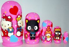 Hello Kitty matreshka traditional russian nesting doll toy made curved painted by hand collectible souvenir  decorative wood linden gift