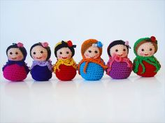 Mini Amigurumi Matryoshka Dolls by BoutiqueCarnival on Etsy Knit Or Crochet, Crochet Gifts, Knitted Dolls, Crochet Dolls, Little Girl Gifts, Matryoshka Doll, Diy Doll, Amigurumi Doll, Baby Knitting