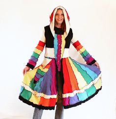 Rainbow Cashmere  Upcycled Sweater Elf Coat pixie by WoolyMantis