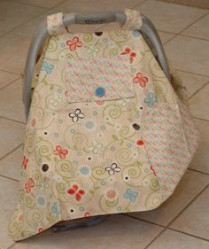 Baby Car Seat Cover in Cream Pinks Blues and Greens by Debsflorals, $32.99