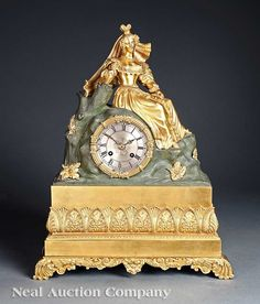 A Louis Philippe Patinated and Gilt Bronze Figural Mantel Clock, c. 1840