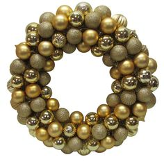 Home Accents Holiday 20 in. Gold Plastic Ball Christmas Ornament Wreath-HD20160151A - The Home Depot