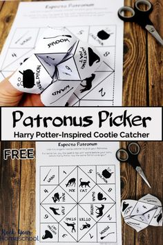 Enjoy some magical Harry Potter-inspired fun with this Patronus Picker. This free printable cootie catcher is a fantastic activity for your party, class, & special times with family & friends. Harry Potter Motto Party, Harry Potter Day, Harry Potter Thema, Harry Potter Halloween Party, Harry Potter Games, Harry Potter Classroom, Harry Potter Decor, Harry Potter Christmas, Harry Potter Birthday