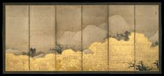 This pair of screens, invoking the Chinese landscape around the Xiao and Xiang Rivers and the traditional couplets associated with its representation, was painted by the second son of Unkoku Tōgan (1547–1618), heir to the artistic legacy and patrons of Sesshû Tōyō (1420–?1506) in western Japan