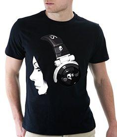 headphones Black and White T Shirt for Men