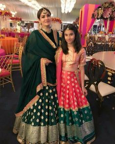 Spotted: with daughter Rasha Thadani go for custom-made traditional looks. Shop Manish Malhotra at Carma by sending us a screenshot at Banarasi Lehenga, Indian Lehenga, Anarkali, Indian Saris, Sharara, Indian Ethnic, Indian Attire, Indian Wear, Indian Style