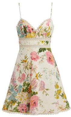 Zimmermann Heathers Floral Print Linen Mini Dress - Womens - Pink Print