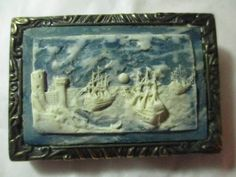 UNISEX STONE RAISED BELT BUCKLE BLUE WHITE WATER SCENE BOATS CARVED INCOLAY GIFT