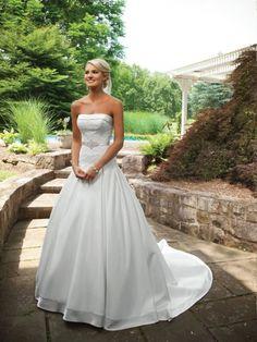 Robe de bal sans bretelles robe de mariage en satin