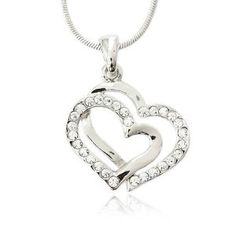 Crystal Double Heart Charm Pendant Necklace  $16.99